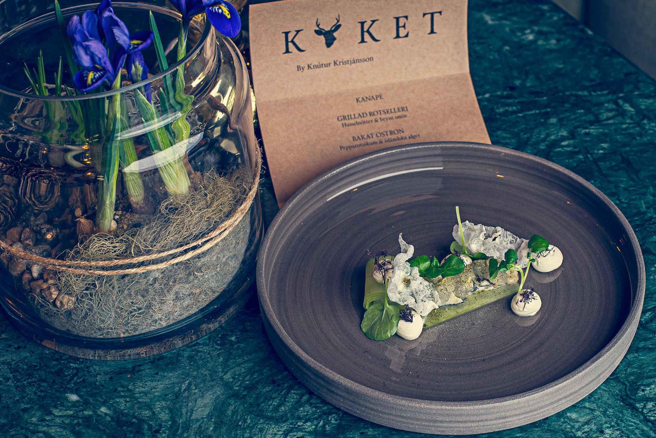 Magnifika menyer med vällagad mat på restaurang Köket på Falkenberg Strandbad