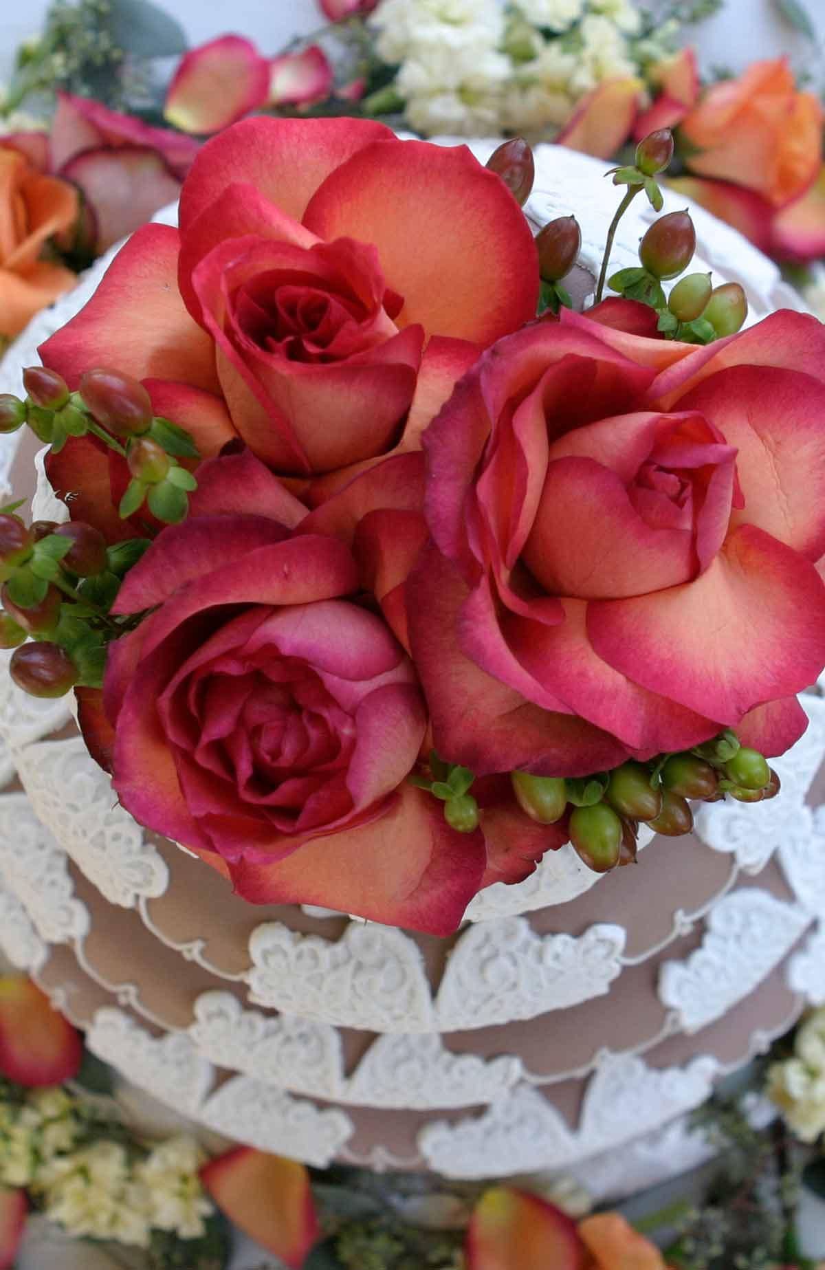 Bröllopstårta med rosor på Falkenberg Strandbad