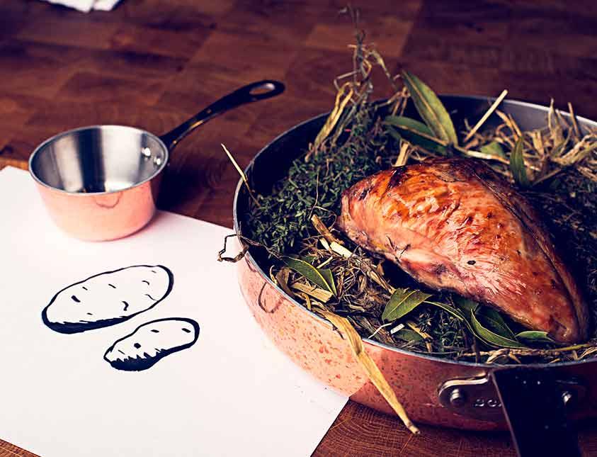 Mat som både är god och visuellt vacker på restaurang Köket på Falkenberg Strandbad