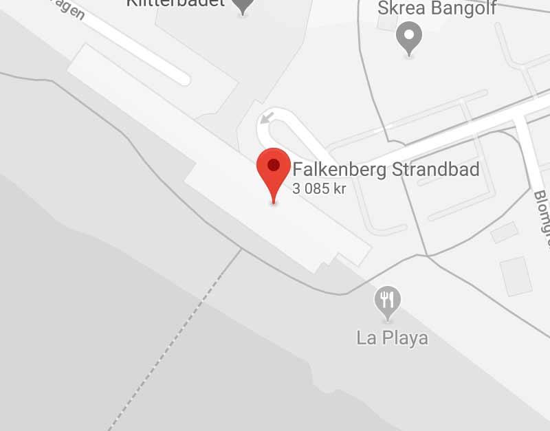 Karta som hjälper dig hitta till Falkenberg Strandbad