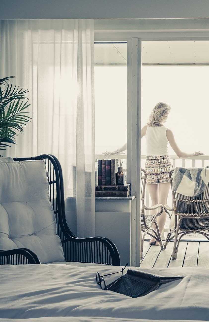 Utsikt från balkongen på hotellrummet på Falkenberg Strandbad
